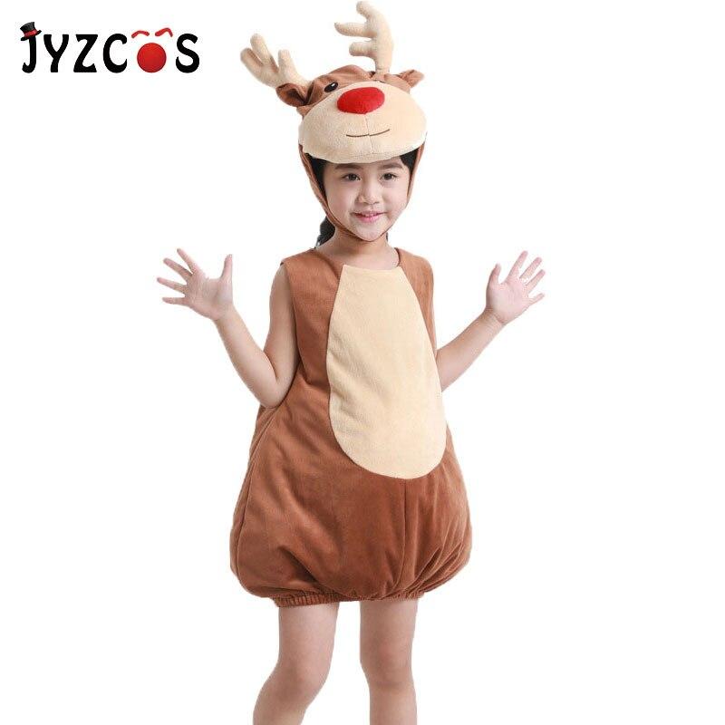 JYZCOS Kids Deer Elk Costume Purim Halloween Costumes Animal Fancy Dress Children Christmas Carnival Costumes