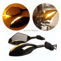 Motorcycle Mirror LED Turn Signal Integrated Indicator Side Rear Mirror For Honda Kawasaki Suzuki Yamaha