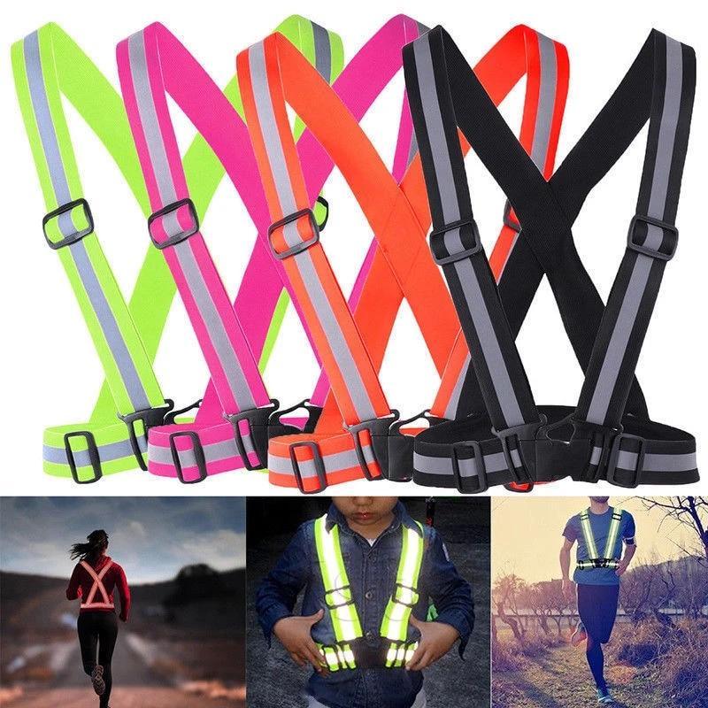 Women/'s Safe Reflective Vest Belt Night Running Jogging Biking Belt 4CM