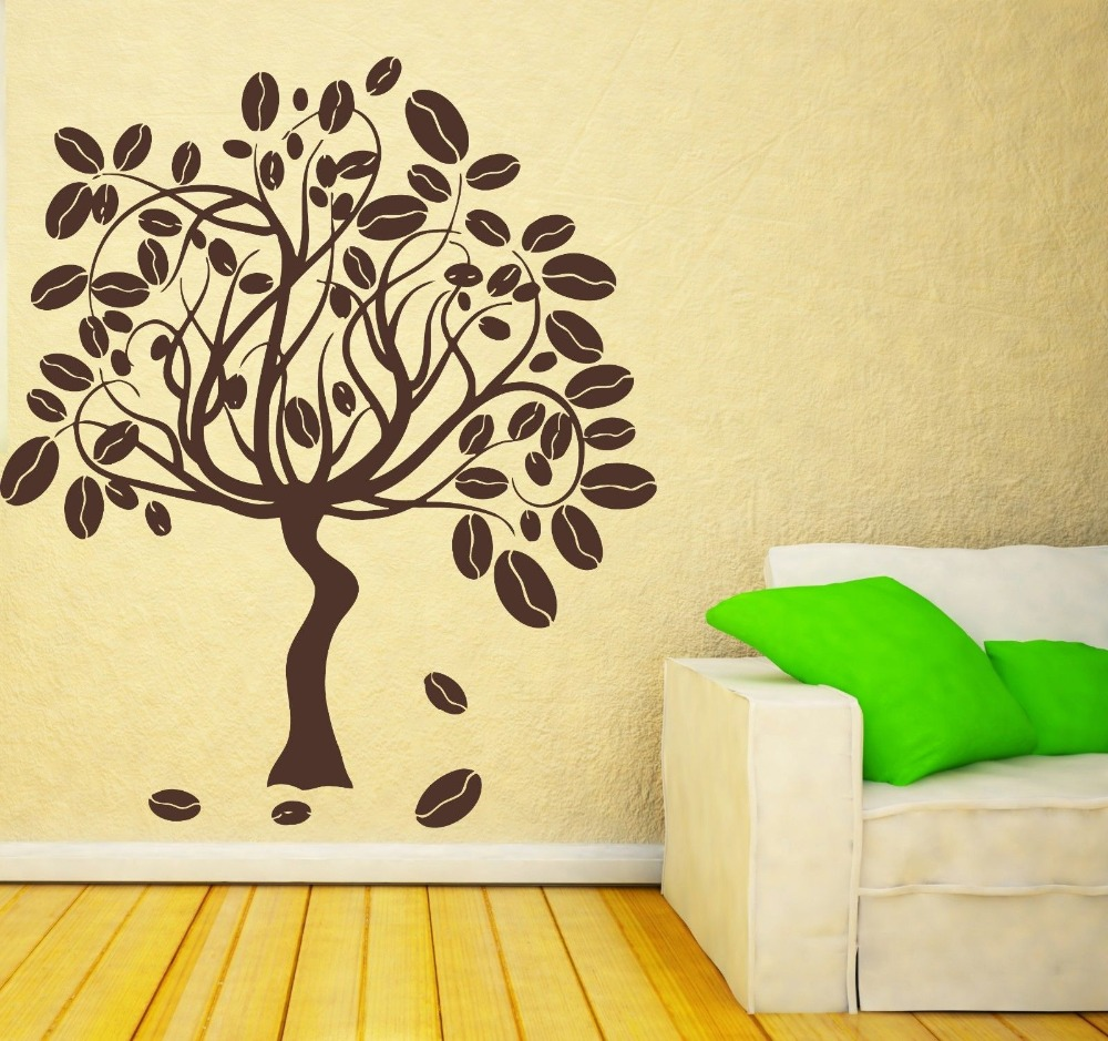 2016 New Vinyl Wall Stickers Coffee Tree Mural Home Decor Decals ...