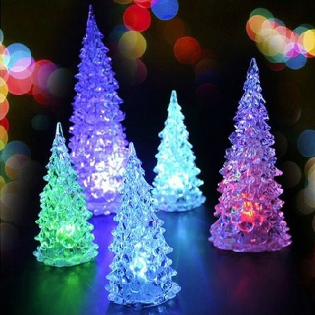 color changing crystal tree shaped night light holiday tree shape decoration led desk lamp battery included