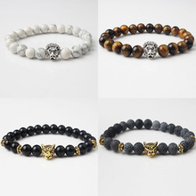 LanLi модный мужской сплав голова льва рейки Будда Браслет Шарм ювелирные изделия черный выветривание натуральные камни бисерные браслеты
