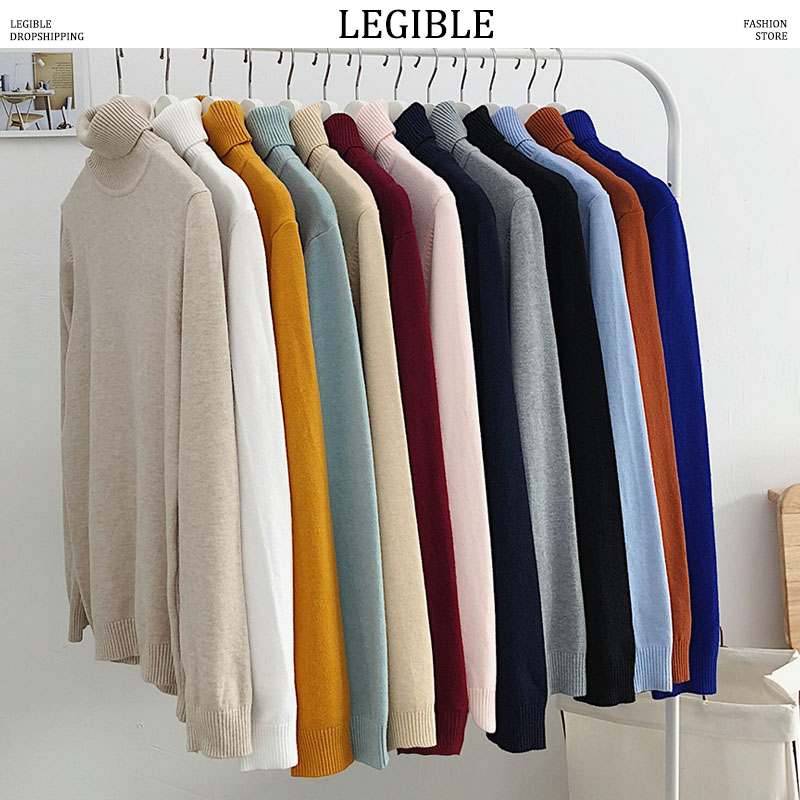 LEGIBLE Men Winter Sweaters Mens Turtleneck Black Pullover Sweaters Male Korean Solid Black Couple Colorful Clothing