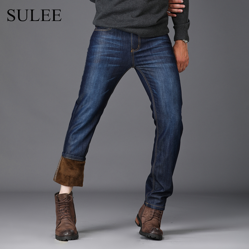 SULEE Brand Thick Warm Fleece Flannel Lined Quality Winter Mens Plus Size Stretch Thicken Jeans  Denim Jean Pants Trousers sulee brand autumn winter mens heavyweight stretch denim jeans casual fit loose relax trousers pants plus size 42 44