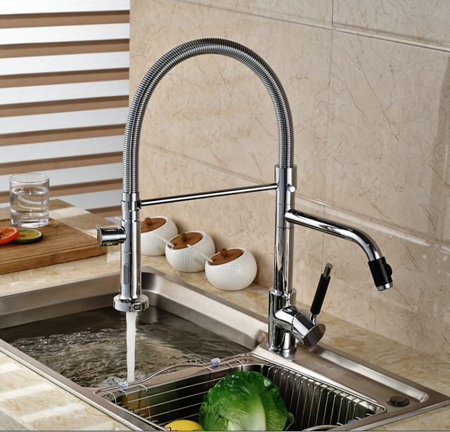Luxury Dual Spout Pull Down Side Sprayer Kitchen Sink Faucet Deck