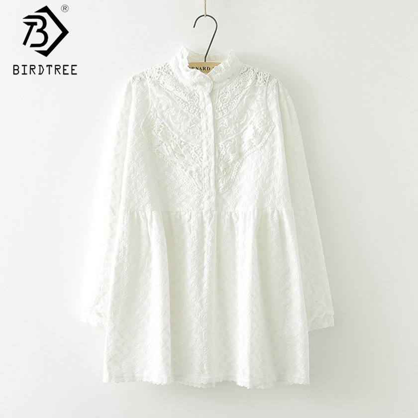 Stand-Collar Long-sleeved Flower Embroidery Lace White Shirt New Fall Mori Girl Cotton Women Long Loose Blouse Tops T77911
