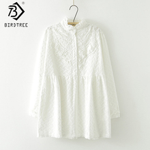 Stand-Collar Long-sleeved Flower Embroidery Lace White Shirt New Fall Mori Girl Cotton Women Long Loose Blouse Tops T77911 new arrival simple style children s long sleeved shirt spring fall girl collar striped shirt girl blouse 5 10y