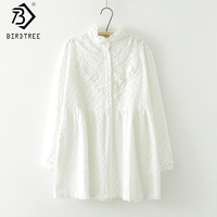 Stand Collar Long sleeved Flower Embroidery Lace White Shirt New Fall Mori Girl Cotton Women Long Loose Blouse Tops T77911