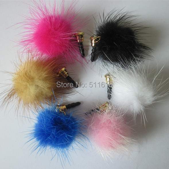 AAA Quality 2015 New Mink Fur Mobile Phone Dust Plug 3.5mm Cell Phone Accessories Pendant Charm For iPhone 6 5 Samsung iPad Mini