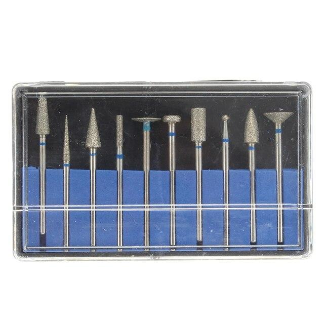 10 unids piezas Dental sinterizado diamante punto pulidor Bur 2,35mm vástago rotativo taladro amoladora abrasivo conjunto joyería laboratorio suministros