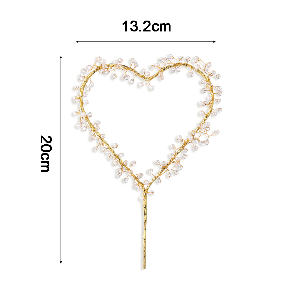 NEW 1PC Heart Shape LED Pearl Cake Toppers Baby Happy Birthday Wedding Cupcakes Party Cake Decorating