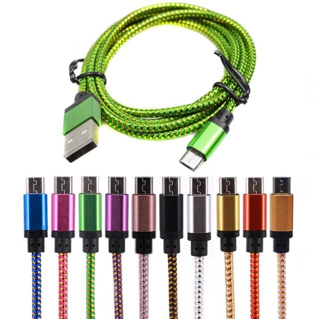 25 cm/1 m/2 m/3 m micro usb cable caricatore di sincronizzazione di dati nylon cavo usb per android smart phone per tablet pc