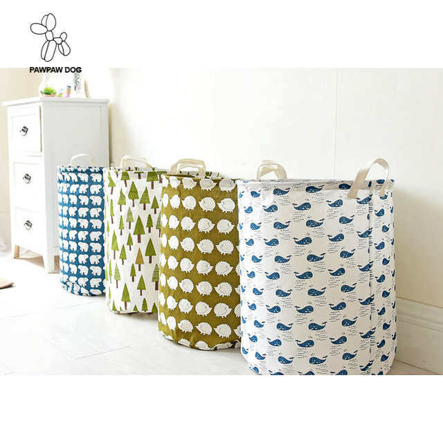 35x45cm Collapsible Laundry Basket For Bedroom Nursery Dorm Closet Waterproof Canvas Wash Bags Storage Containers