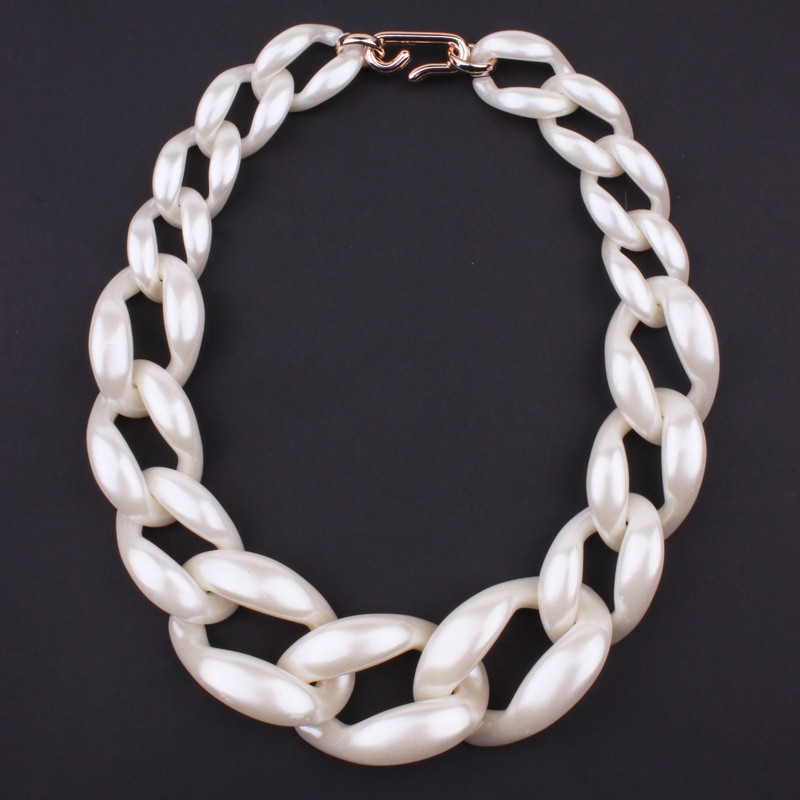 New Jewelry Statement necklace Pearl chain cord chunky choker necklace colors big chain necklace fashion jewelry women necklace