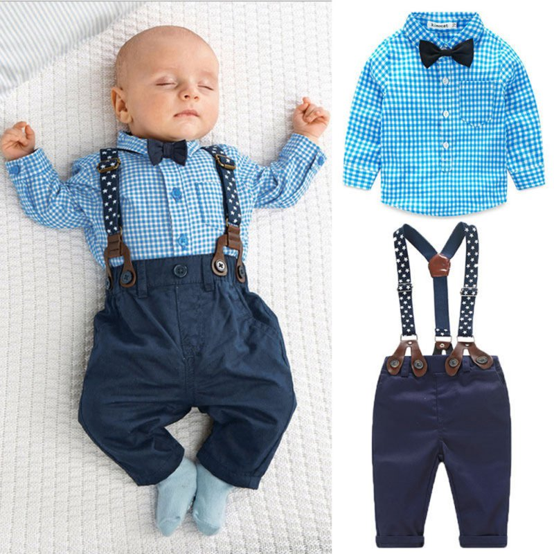 China 2pcs Baby Sets Toddler Boy Plaid Tops+Suspender Pants Outfits Suit Spring Autumn Clothes