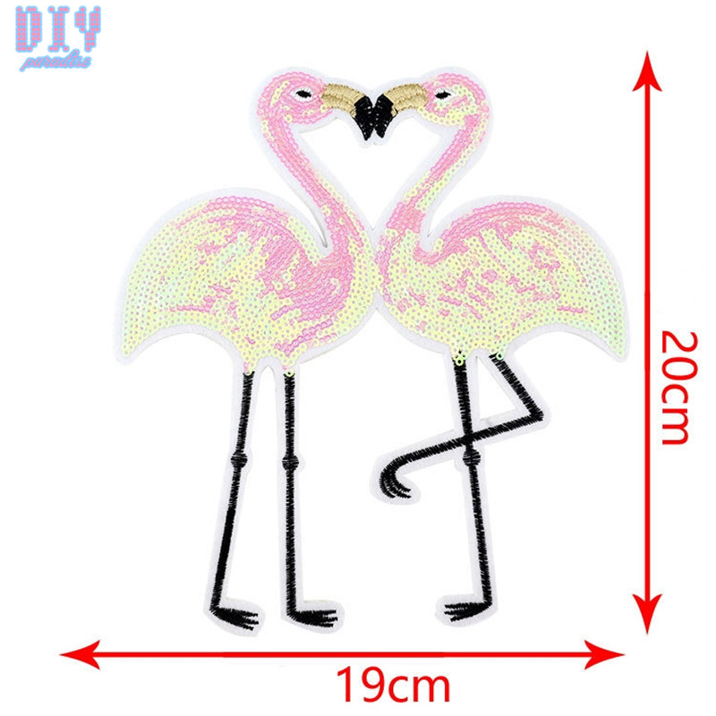 Flamingos Ice cream Sequins Sew On Patches for Summer T Shirt clothes Clothing Reversible Change Color Patch Applique