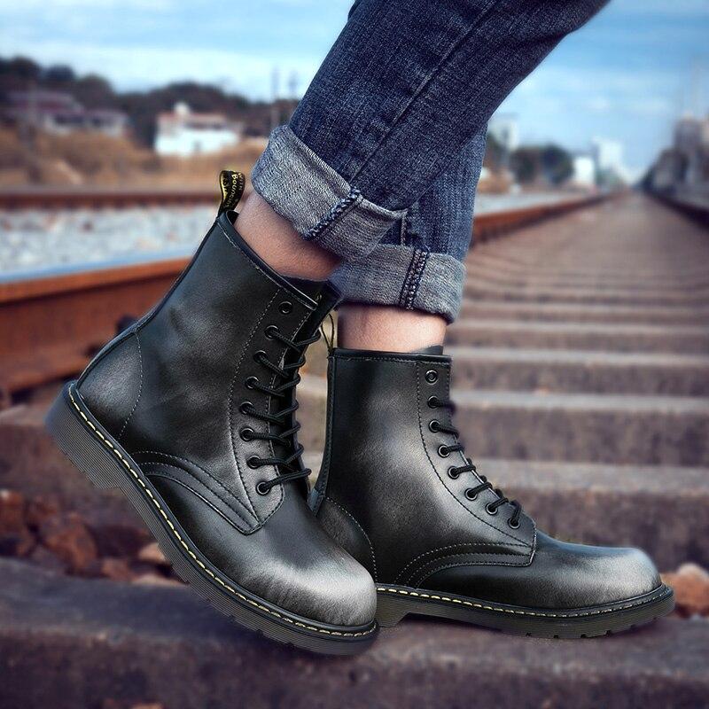 Зимние мужские ботинки, большие размеры 38-47, мужские ботинки Martens, винно-красные, черные винтажные мужские ботинки, удобные мужские рабочие б...