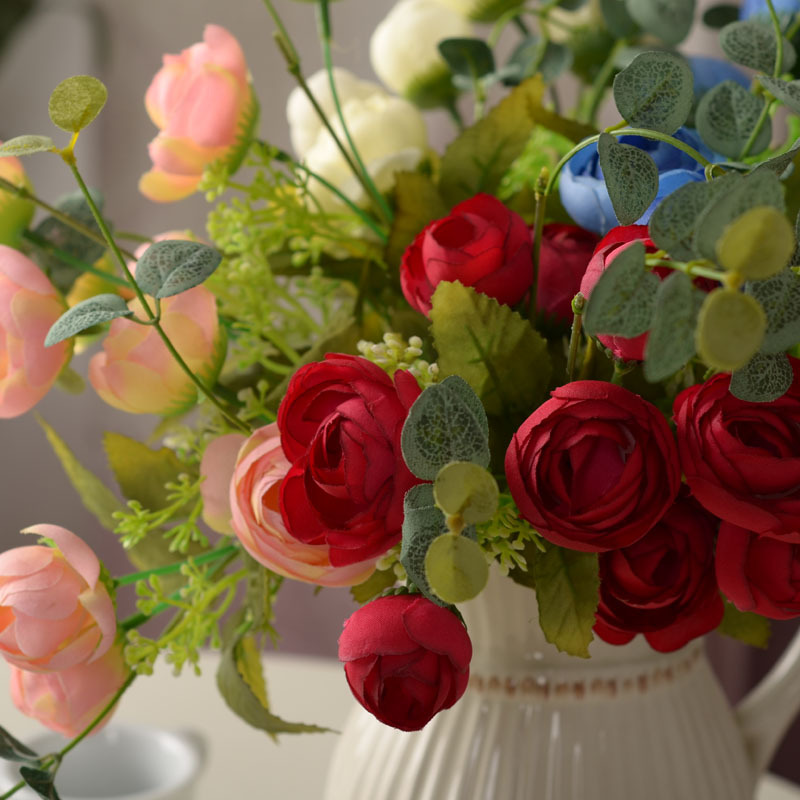 5pcs High end European money dried tea rose silk flower simulation ...
