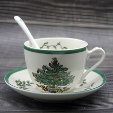 1 Set Christmas Tree Tea Cup With Saucer and Spoon Christmas tea cup New Year's gift Coffee Cup Saucer Set European-style
