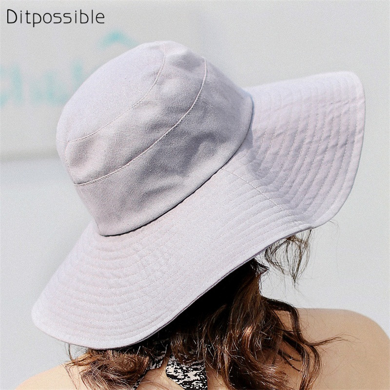 ba0c5ff456e39 Ditpossible new solid wide brim bucket hats women casual panama caps floppy  foldable fishing cap