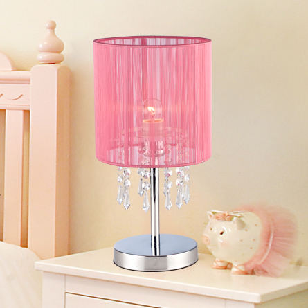 Tea House Master Bedroom Wedding Crystal Table Lamp Bedside Warm Pink Silk Children S Room