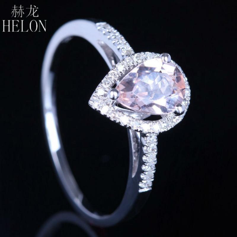HELON 925 Sterling Silver 5x7mm Pear 0 6ct 100 Genuine Morganite Natural Diamonds Trendy Fine Jewelry