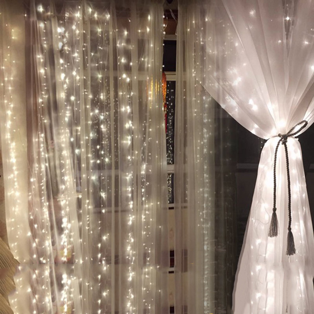 Led Icicle Curtain Lights Christmas Lamp Wedding String For Home Decor With Memory Function Controller