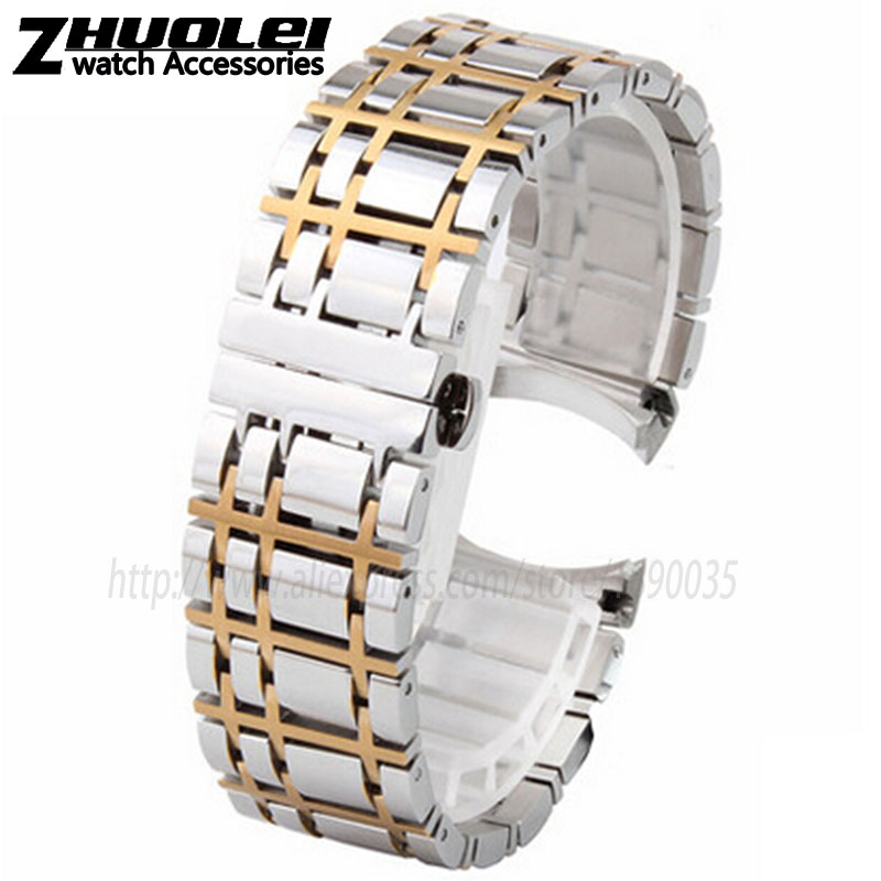 Watchband 16mm 20mm NEW Heavy solid 316L silver|silver with gold Stainless Steel Watch BANDS Bracelets for BU1350 BU1366 BU1360 new 16mm 20mm silver gold metal stainless steel watchband bands strap bracelets for brands watches men high quality accessories