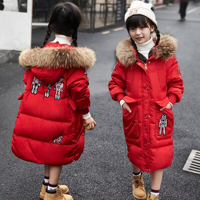 Girls Winter Coat Boys Down Jackets For Kids Snowsuit Robot Embroidery Children's Parkas Thicken Jacket For Girls Snow Wear 3-10 winter down jacket for girls boy coat children s down jackets for boys winter jackets kids outerwears