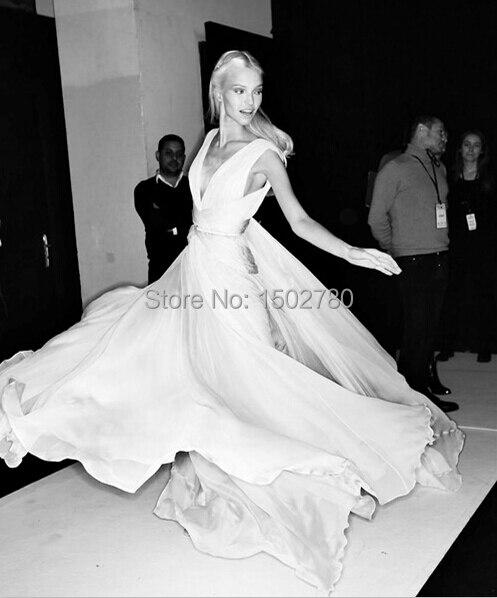White Evening Dress 2014 Sasha Luss Plunge V Neck Ruched Chiffon ...