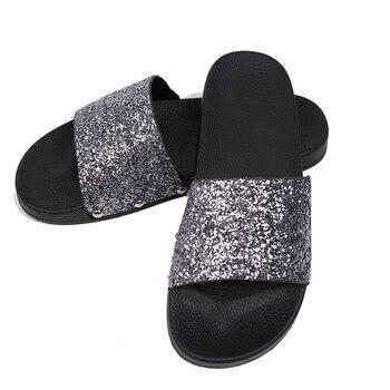 81d8407f9 Senza Fretta 2018 Women Summer Home Slippers Flip Flops Peep Toe Sandals  Glitter ...