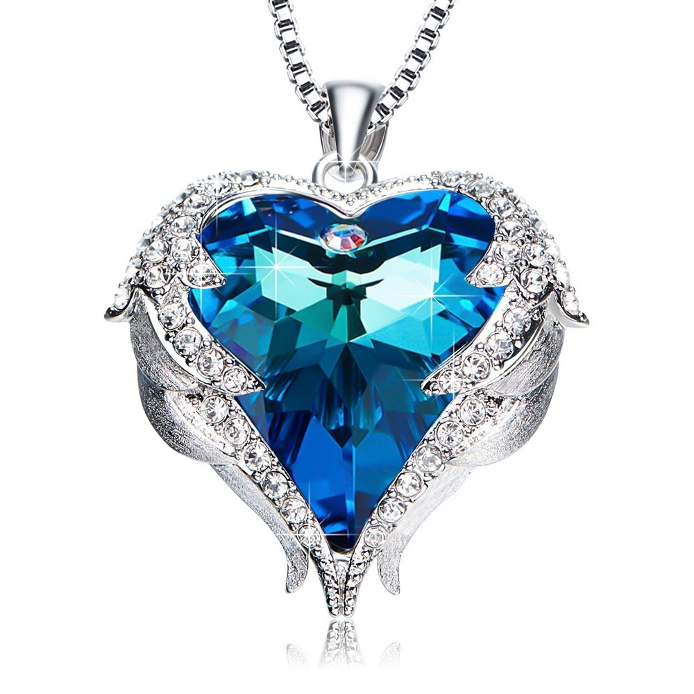 Mother's Day Gifts Angel Wing Ocean Love Austrian Crystal Heart Necklaces Gifts for Women