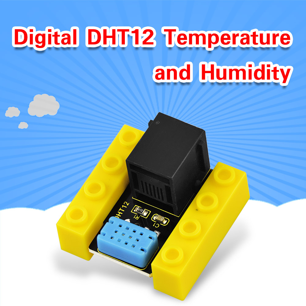 Kidsbits Blocks Coding Digital DHT12 Temperature And Humidity Sensor Module For Arduino STEAM EDU (Black And Eco Friendly)