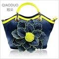 QIAODUO Brand New Women Messenger Bags Canvas Denim Luscious Diamond-set Rose Flower Bag Handbag Party Purse