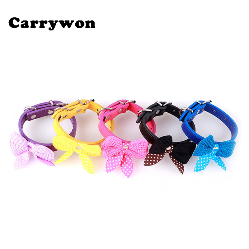 Carrywon HOT SALE Pets Cute Bowknot Durable Dog Collar Comfortable Adjustable Fashional Leather PU Collars Lovely Pet Puppy Dogs