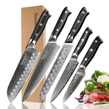 SUNNECKO 5PCS סכיני מטבח סט Santoku שירות קילוף סכין דמשק פלדה יפני חותך כלי G10 ידית לחם שף סכין