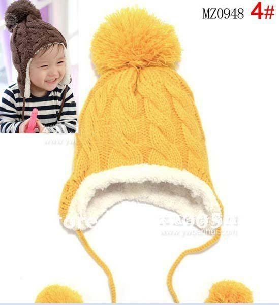 Полосатая бархатная детская шапка с ушками, шерстяная шапка, висячий шар, детские вязаные шапки(5 цветов) MZ0948