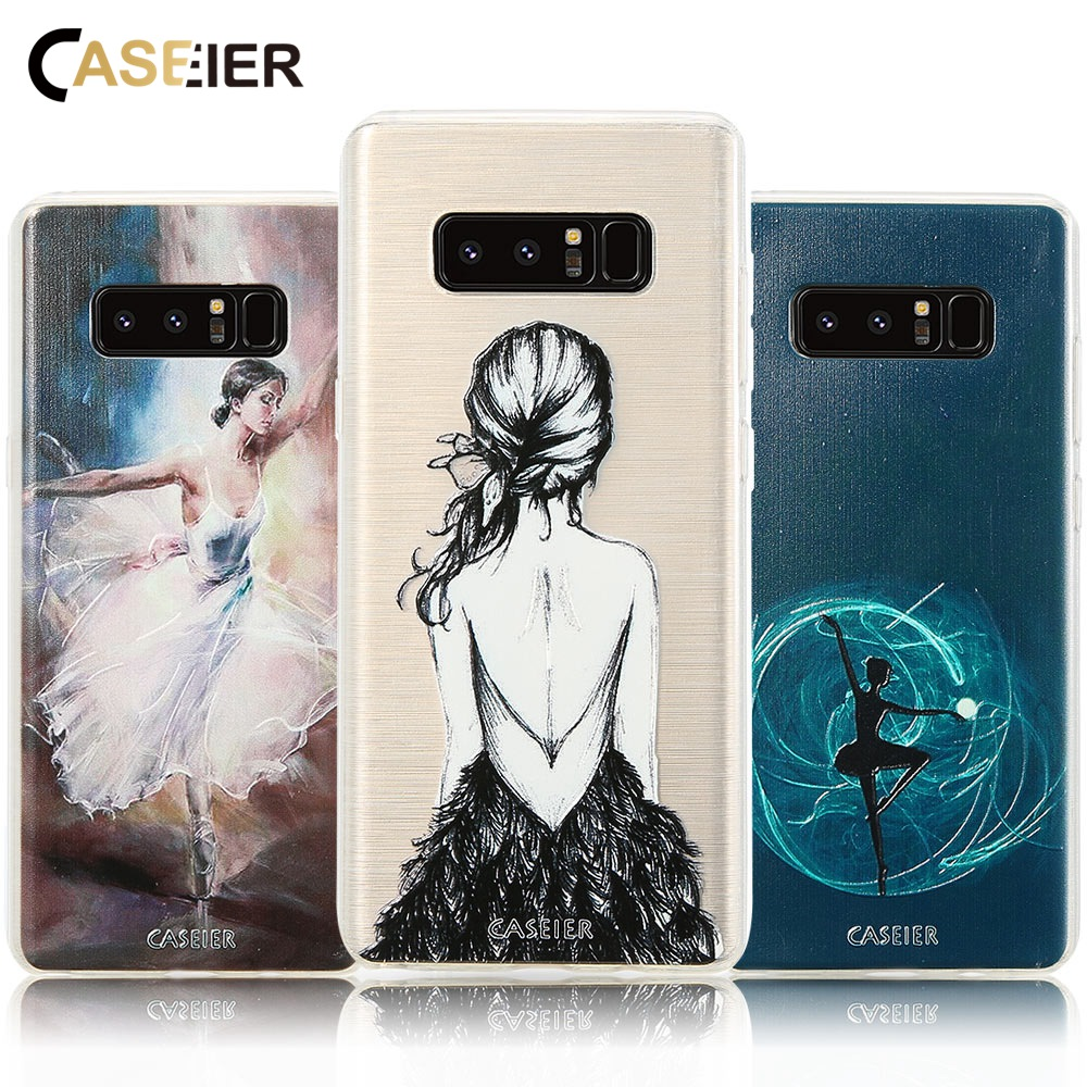 CASEIER Phone Case For Samsung Galaxy S6 S7 Edge S8 Plus Note 8 Cases Ballet Girl Shock Proof Cover Soft TPU Fashion Fundas Capa