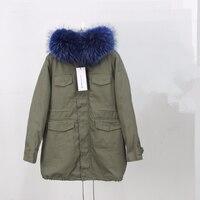 Натуральный мех пальто Высокое качество 2019 длинные из натуральной зимняя куртка Для женщин парки енот меховой воротник с капюшоном Куртка