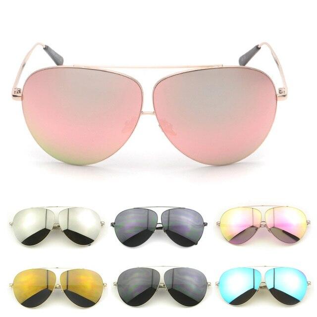 Nueva gran tamaño mujeres aviador metal oro gafas de sol de espejo ...