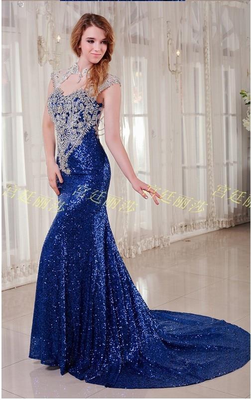 Sapphire Blue Sequins Handmade Mosaic Crystal Custom Wedding Dress