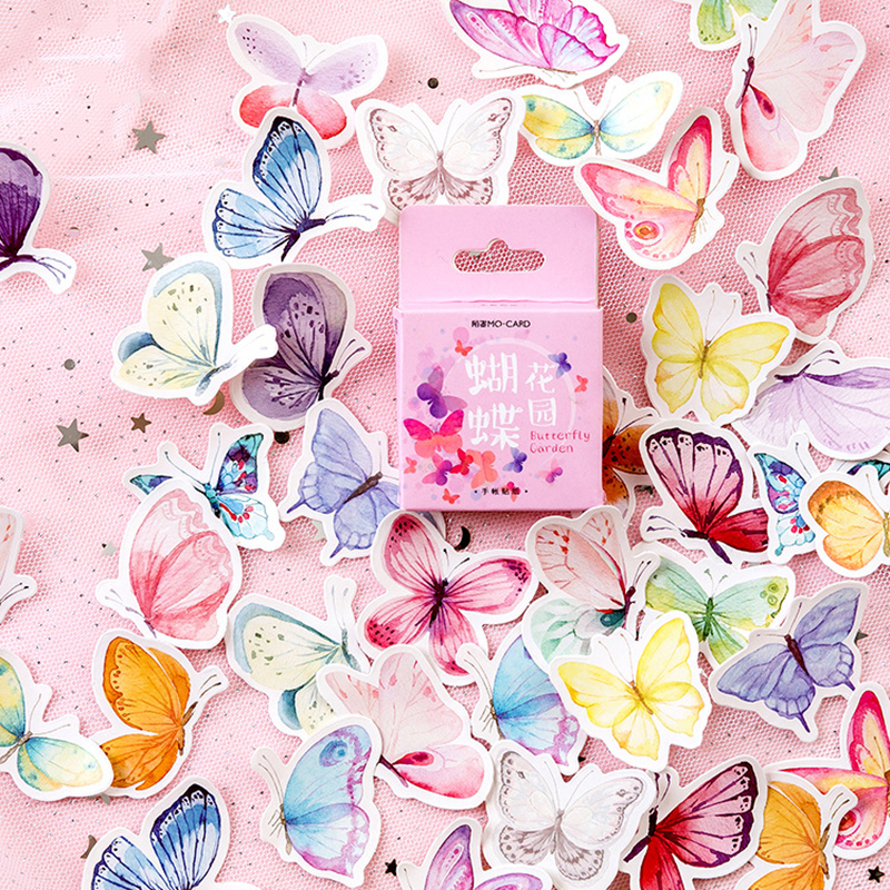 46Pcs/Box Cute Butterfly Stickers Creative Stationery Stickers Lovely Adhesive Stickers For Kids Diary Scrapbooking Photo Ablums