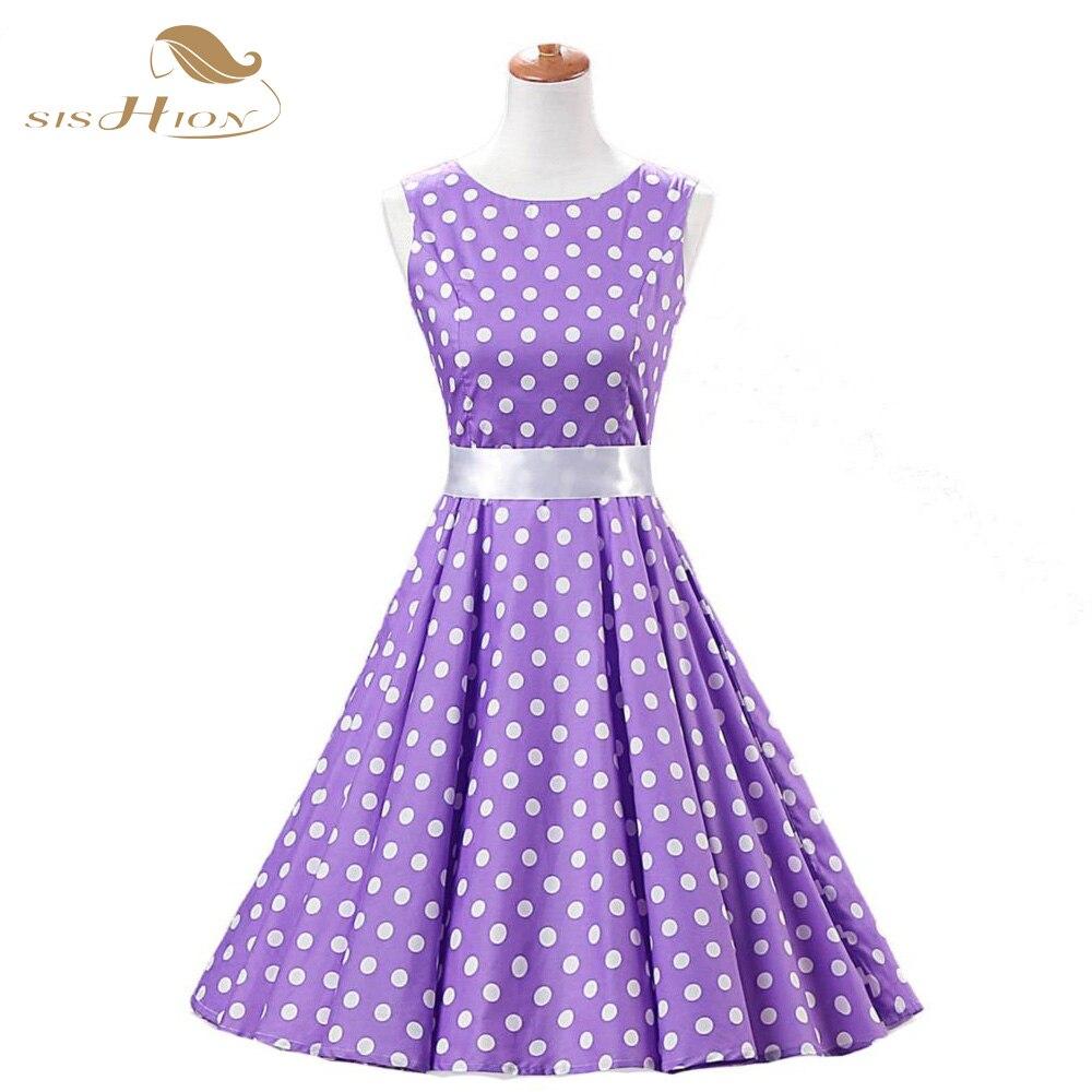 4de1168c07 SISHION Purple Women Summer Dress 2018 Sleeveless Tunic Casual Vintage  1950s Party Rockabilly Big Swing Polka Dot Dress VD0067-in Dresses from  Women s ...