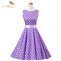 SISHION Purple Women 2016 Summer Dress Sleeveless Tunic Casual Vintage 1950s 60s Party Rockabilly Big Swing