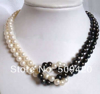 Free Shipping 8mm Black Jade White Natural Pearl Necklace