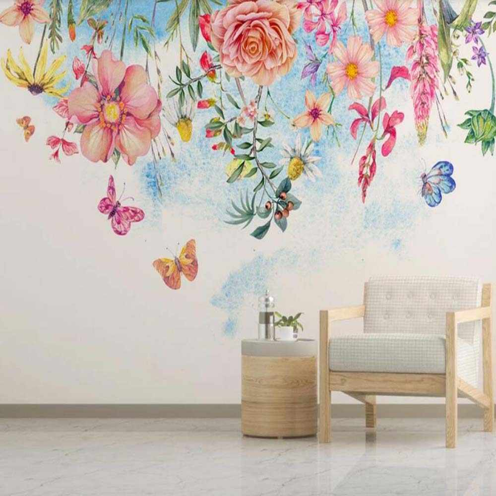 Watercolor Flower Butterfly Wallpaper Wall Mural Floral Murals Art Wall Decal 3D Printed Photo Wall Papers Hand Painting Home Decor