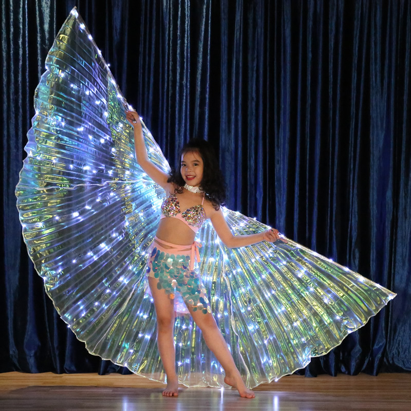 Kids LED Light Up Wings Costume Accessories Performance Prop Children Dancewear Belly Dance Isis Wing (with Sticks, Bag) 3 Pcs