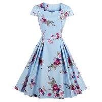 Sisjuly Vintage 1950s Dresses Summer Knee Length Women Floral Print Dress Square Neck Collar 2017 Rockabilly