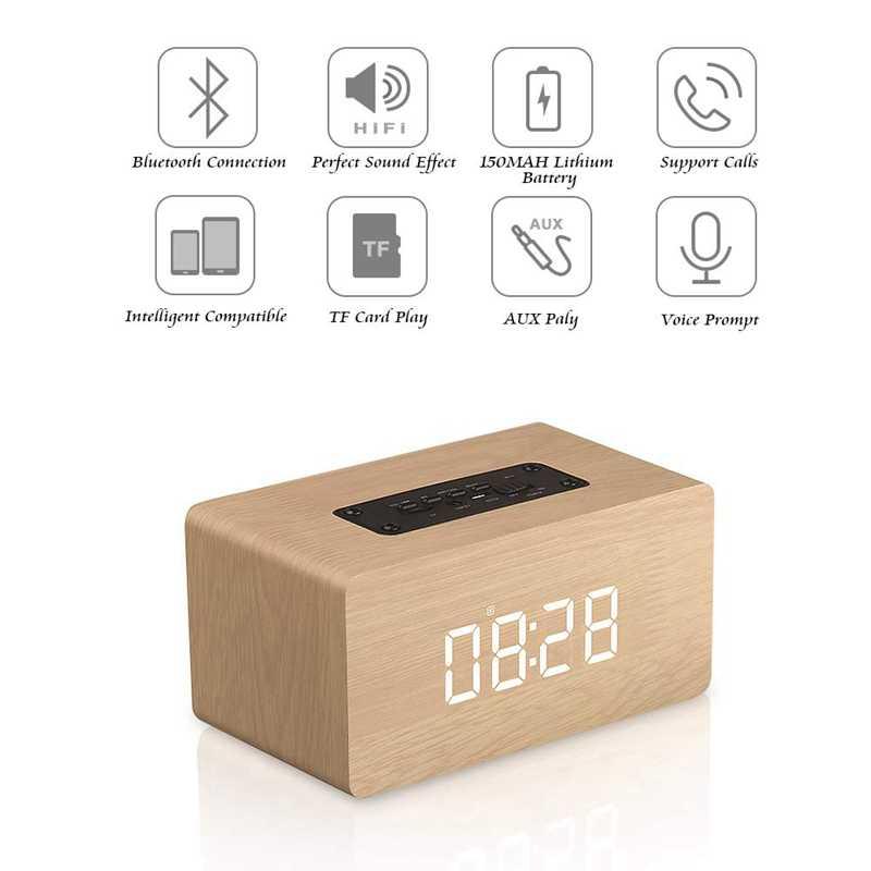 TOP!-głośnik Bluetooth cyfrowy budzik drewniany, przenośny bezprzewodowy podwójny sterownik V4.2, 1500 Mah, wyświetlacz Led, Tf
