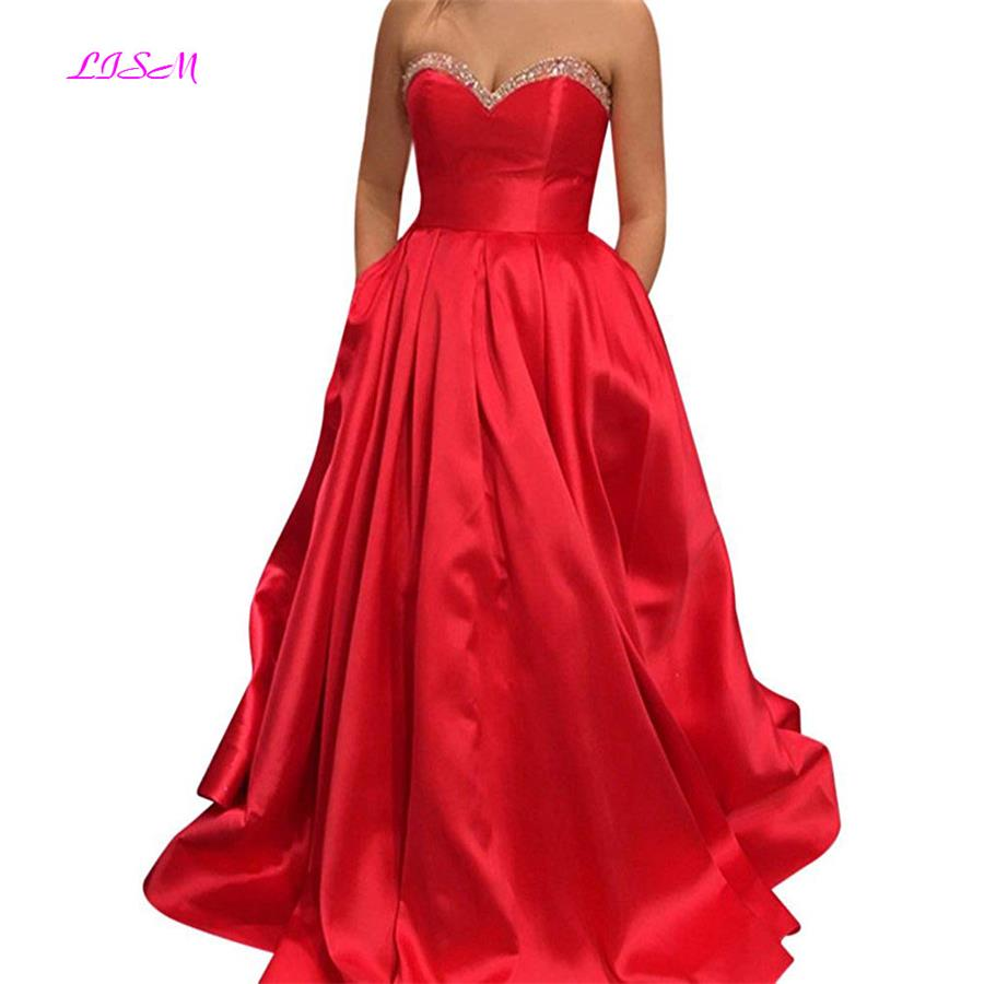 Sweetheart Plus Size Prom Dress Red Elegant Long Evening Party Dresses Ball Gown Empire Formal Gowns with Pockets gala jurken